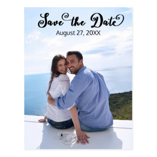 Simple Photo Elegant Script - Vertical Save/Date Postcard