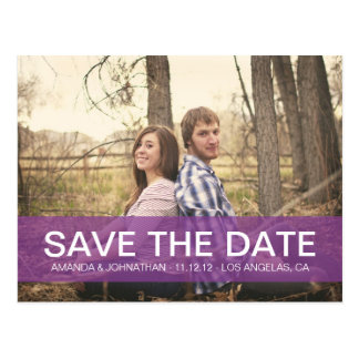 Simple Photo Purple Save The Date Post Cards