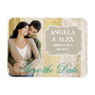 SIMPLE PHOTO SAVE THE DATE | BEIGE GREEN RECTANGULAR PHOTO MAGNET