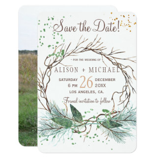 Simple photo winter wreath save date wedding card