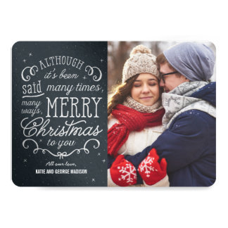 Simple Phrase Editable Color Christmas Photo Cards
