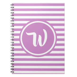 Simple Pink and White Stripes Striped Initials Notebook