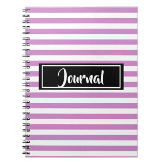 Simple Pink and White Stripes Striped Journal