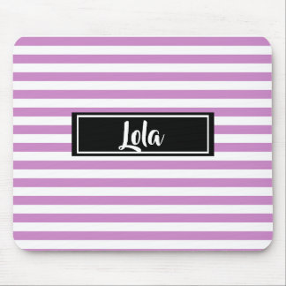 Simple Pink and White Stripes Striped Name Mouse Pad