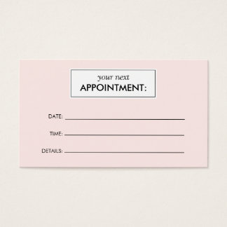 Simple Pink Appointment Card