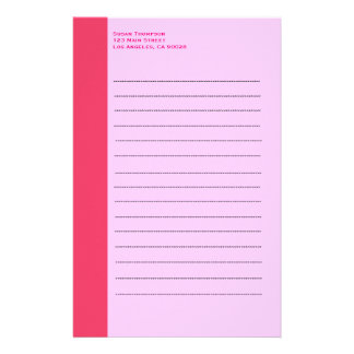 Simple pink border stationery