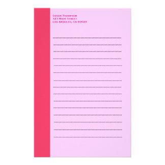 Simple pink border stationery design