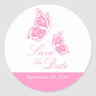 Simple Pink Butterfly Save The Date Wedding Round Sticker