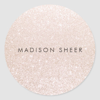 Simple Pink Champagne Glitter Classic Round Sticker
