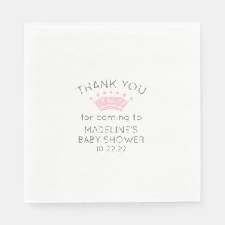 Simple pink crown baby shower paper napkins