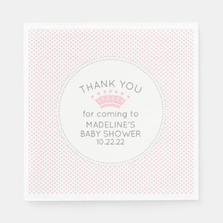 Simple pink dot crown baby shower decor paper napkin
