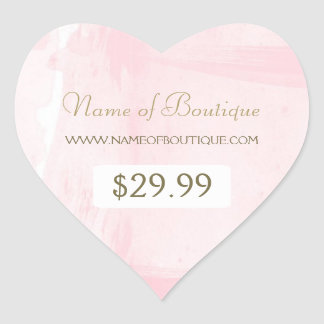 Simple Pink Gold Watercolor Boutique Price Tag Heart Sticker