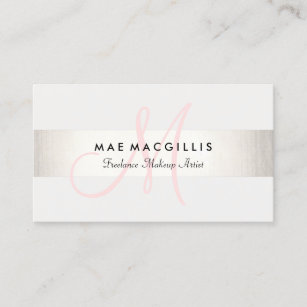 Monogram business cards profile cards zazzle ca simple pink monogram modern faux silver striped business card reheart Image collections