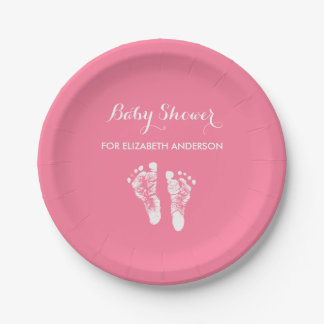 Simple Pink Newborn Footprints Girl Baby Shower Paper Plate