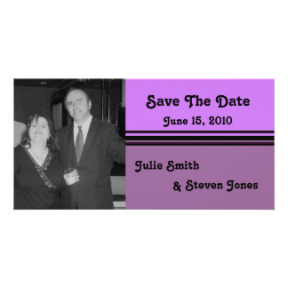 simple pink purple save the date picture card