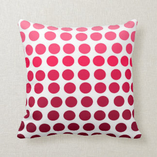 Simple Pink Red Gradient Polka Dots Throw Pillow