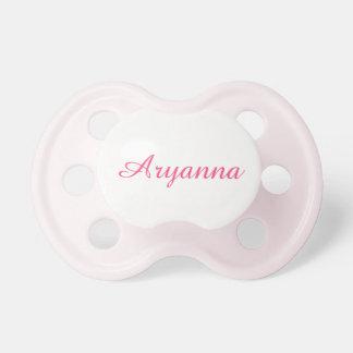 Simple Pink Script Custom Baby Girls' Name Pacifier