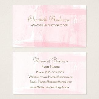 Simple Pink Watercolor Elegant Gold Script Business Card