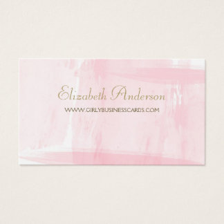 Simple Pink Watercolor Elegant Gold Script Business Card