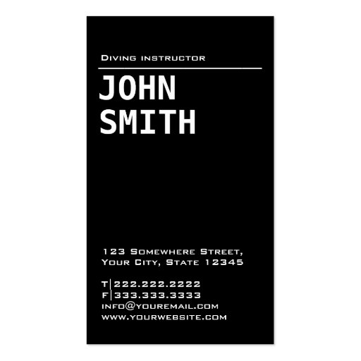 Simple Plain Black Diving Business Card