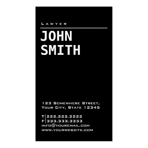 Simple Plain Black Lawyer Business Card