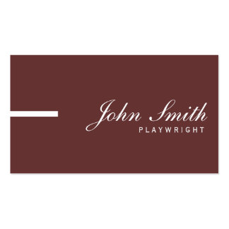 Simple Plain Brown Playwright Business Card