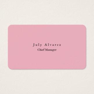 Simple Plain Elegant Modern Pink Feminine Business Card