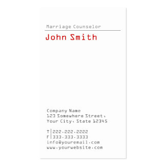 Simple Plain Marriage Counseling Business Card