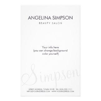 Simple Plain Minimalistic Beauty Salon Price List Full Colour Flyer