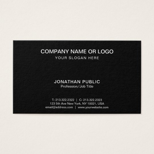 Simple Plain Modern Elegant Black White Company Business Card