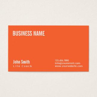 Simple Plain Orange Life Coach Business Card