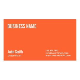 Simple Plain Orange Optometrist Business Card