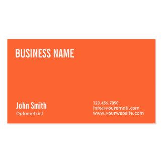 Simple Plain Orange Optometrist Business Card