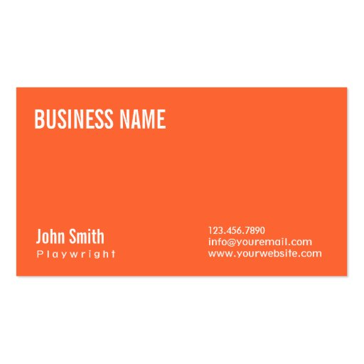 Simple Plain Orange Playwright Business Card