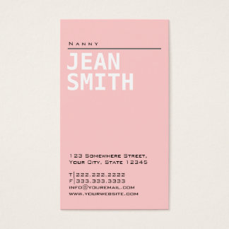 Simple Plain Pink Nanny Business Card