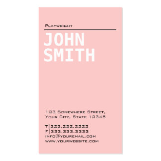 Simple Plain Pink Playwright Business Card