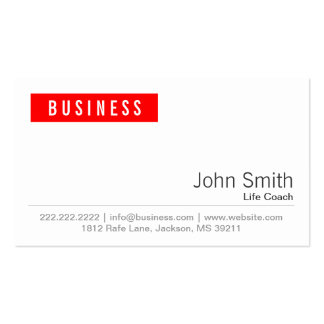 Simple Plain Red Label Life Coach Business Card