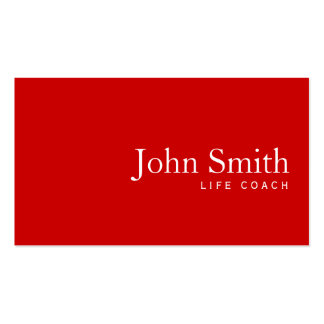 Simple Plain Red Life Coach Business Card
