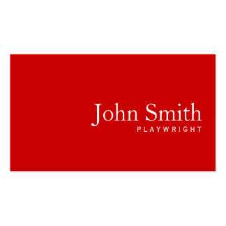 Simple Plain Red Playwright Business Card
