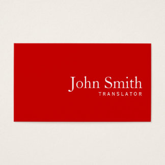 Simple Plain Red Translator Business Card