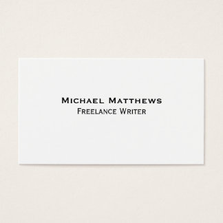 Simple Plain Unadorned Black and White Custom Business Card