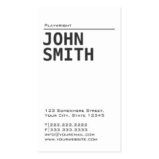 Simple Plain White Playwright Business Card