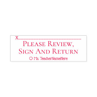 """Simple """"Please Review, Sign And Return"""" Self-inking Stamp"""