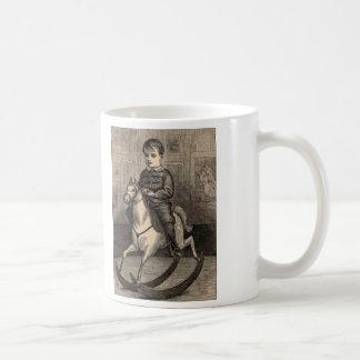 Simple Pleasures Woodcut Boy On Rocking Horse Basic White Mug