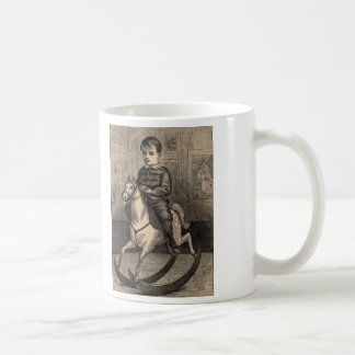 Simple Pleasures Woodcut Boy On Rocking Horse Classic White Coffee Mug