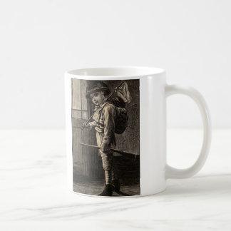 Simple Pleasures Woodcut Boy Running Away Basic White Mug