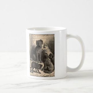 Simple Pleasures Woodcut Dogs In Alley Basic White Mug