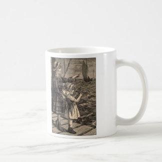 Simple Pleasures Woodcut Girls On A Pier Basic White Mug