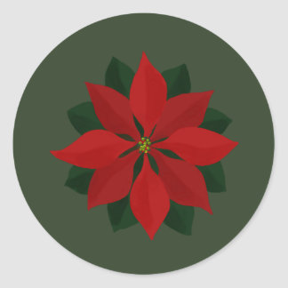 Simple Poinsettia on Green Classic Round Sticker