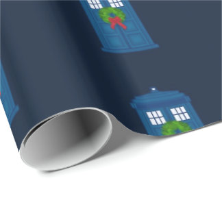 """""""Simple Police Box with Wreath"""" (Large Pattern) Wrapping Paper"""